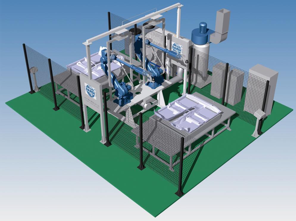 立式固定台双工位机器人水切割系统
